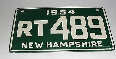 1954 New Hampshire Bicycle License Plate Rt-489 Emboss # Bicycle License Plate