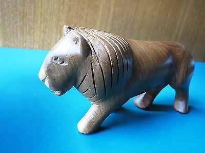"""BARGAIN! 5"""" LION WOOD FIGURINE African hand carved made statue toy CUTE NOSE!"""