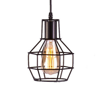 Vintage Pendant Lamp - Round Cage | w/ Frosted Bulb 40W | Industrial Loft Wire
