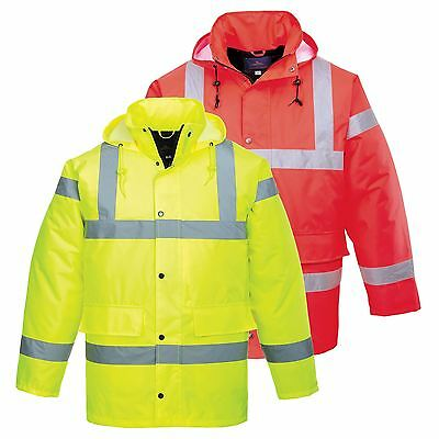 HI VIS Waterproof Safety Traffic Jacket Coat Hooded Work Workwear XXS - 8XL S460