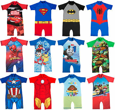 Boys Character Swimsuits Sun Safe Swimming Beach Costume Sunsuit Kids Size