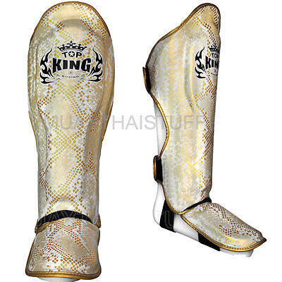 Top King Shin Guards Muay Thai Boxing Snake White Gold Leather Shin Pads