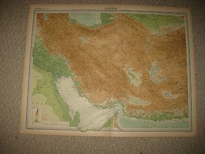 Huge Gorgeous Folio Size Antique 1922 Persia Iran Middle East Times Atlas Map Nr