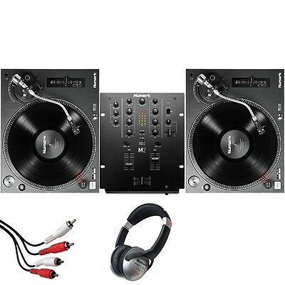 Numark TT250 USB Direct-Drive DJ Turntable (Pair) and Numark M2 Black Mixer