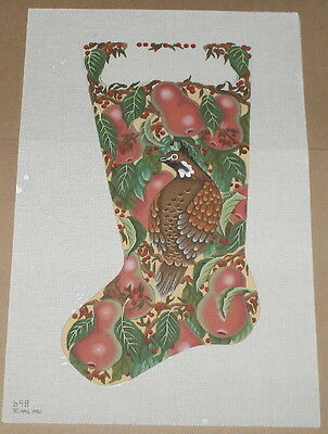 "Melissa Shirley HP ""Partridge / Pear Tree"" Christmas Stocking Needlepoint Canvas"