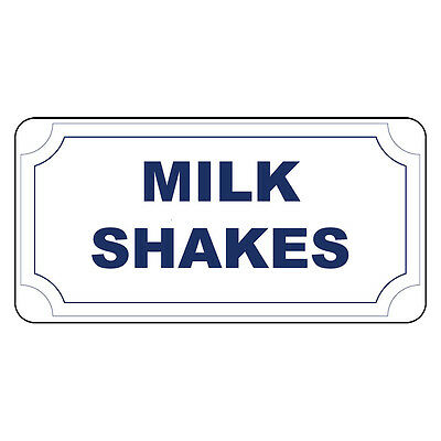 Milk Shakes Blue Retro Vintage Style Metal Sign - 8 In X 12 In With Holes