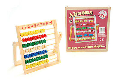 Retro Wooden Childrens Abacus Counting Frame Educational Toy Learn Maths Bargain
