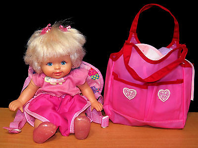 Fisher-Price Little Mommy Doll in Backpack with Diaper Bag Filled w/ Accessories