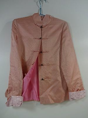 Vtg Asian Satin Pink L Button Up Long Sleeved Ethnic Tang Jacket Suit Top Shirt