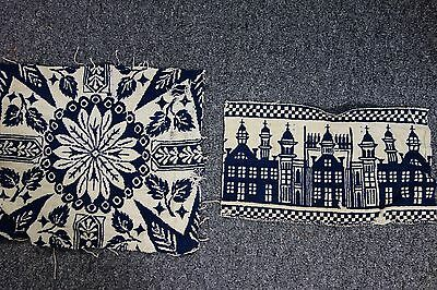 Victorian Jacquard Blanket Pieces-2-Buildings & Star Flower- Navy & Cream- SALE