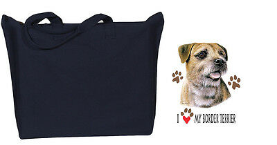 BORDER TERRIER Zipper black TOTE BAG I love my border terrier