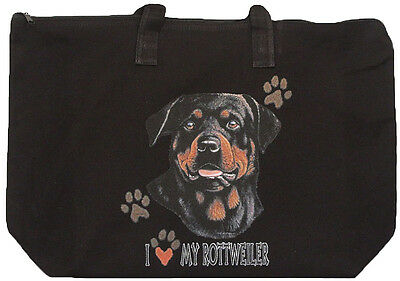 ROTTWEILER Zipper black TOTE BAG I love my rottweiler 20x15x5
