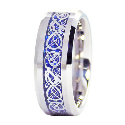 Tungsten Carbide 8mm Celtic Blue Dragon Mens Wedding Band Wedding Ring M26