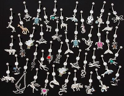 Choose Your Choice Of 10 X Dangle Belly Bars Wholesale Navel Piercings