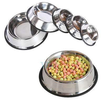 Stainless Steel Non Slip Feeding Food Water Dish Bowls for Pets Dog/Cat S-XL New