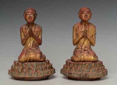 18th Century, Shan, A Pair of Antique Burmese Wooden Seated Disciples