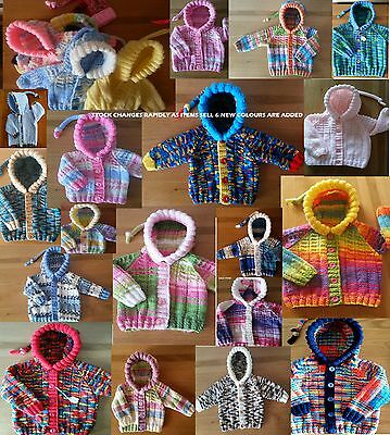 NWT 0-3m 1-4m 3-6m 6-9m UNIQUE hand knitted BABY HOODIE Cardigan Boys Girls