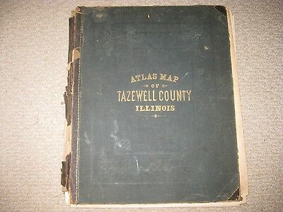 Antique 1874 Atlas Of Tazewell County Illinois No Map W Litho Print Pekin