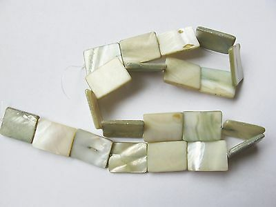 """Mother of pearl shell MOP pale sage green 20mm x 14mm flat rectangle beads 15"""""""
