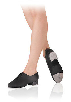 New Tap Shoes Black Leather Leo's  Giordano Jazz Tap  Ls3005L Lace Up 3/4'' Heel