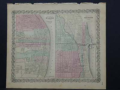 Colton's Maps, 1855, Authentic, Cities of Chicago and St. Louis
