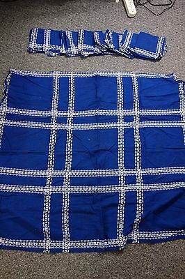 1950's Tablecloth & 8 Napkins -Greece -Bright Navy w/White Embroidery-36x40-SALE