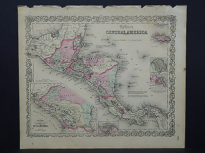 Colton's Maps, 1855, Authentic  Central America R8#53