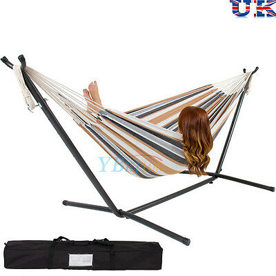 Hammock and Steel Stand Garden Outdoor Lounger Swing Chair Portable Carry Bag