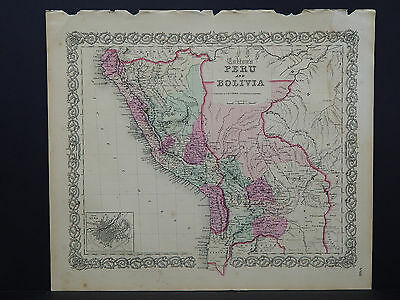 Colton's Maps, 1855, Authentic  Peru and Bolivia  R8#51