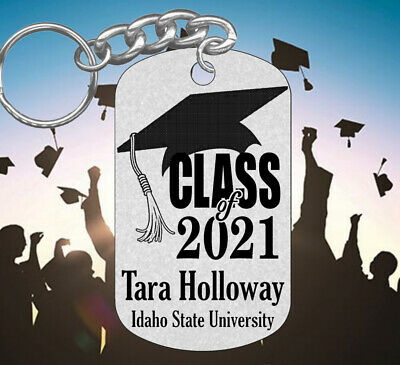 Class of 2018 GRADUATION Keychain Gift, Personalized FREE with NAME & School!