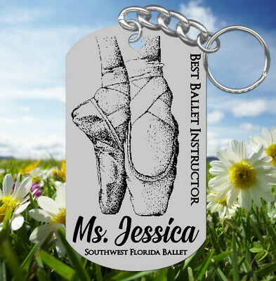 BALLET Teacher Keychain Gift, Personalized FREE! Dance Instructor, Slippers