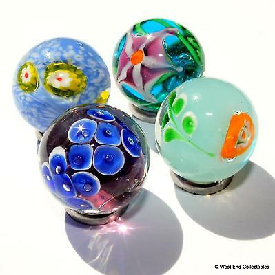 4 x 22mm Hydro Handmade Glass Art Toy Marbles - Marble Collectors Selection Set