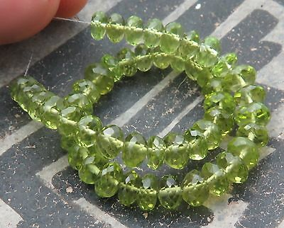 49 GORGEOUS AAAAA FACETED 4.7-5.4mm APPLE GREEN PERIDOT BEADS 37cts FINEST
