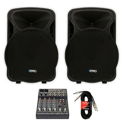 "Technical Pro PVOLT15 PA DJ 15"" Active 3000W Speaker Pair with Mixer PVOLT15-MPR"