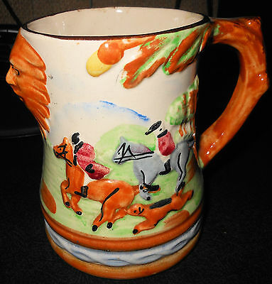 c1920 Arthur Wood Fox Hunting Stein Bas Relief Riders,Lion Face, English Pottery