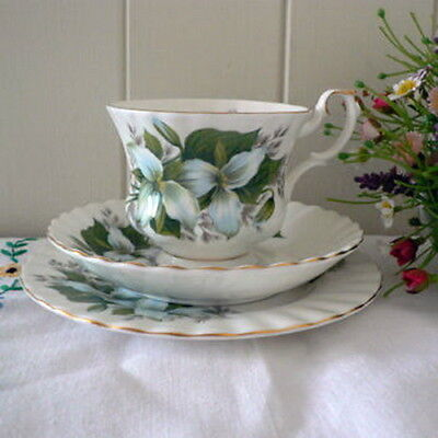 "Royal Albert Flower Of The Month -  "" Trillium "" Trio Plate, Cup & Saucer Set"
