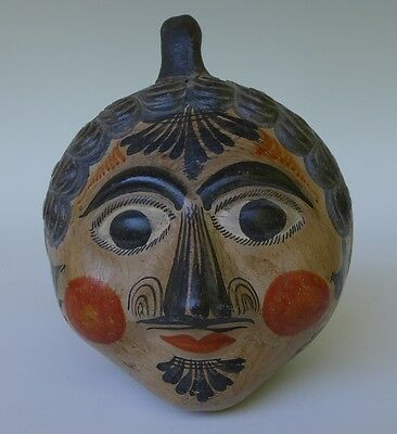 """Lg vintage Mexican Tonala burnished pottery head bank 6 1/2"""" tall x 5 1/2"""" wide"""