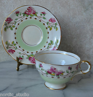 Melba Bone China Montrose Green White Pink Roses Footed Tea Cup And Saucer Set