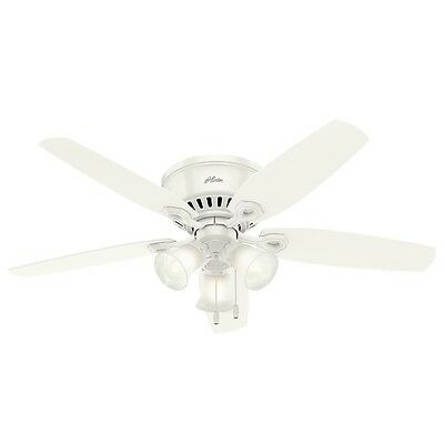 """Hunter 52"""" Builder Low Profile Snow White Ceiling Fan with Light"""