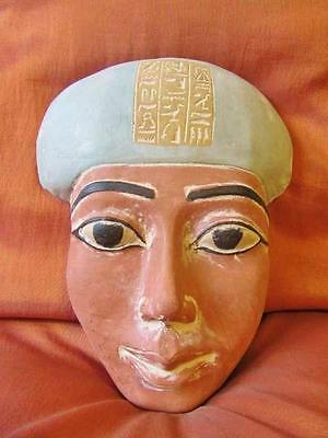 RARE Antique Egyptian Head Mask of Ancient King Tutankhamun Collection Sculpture
