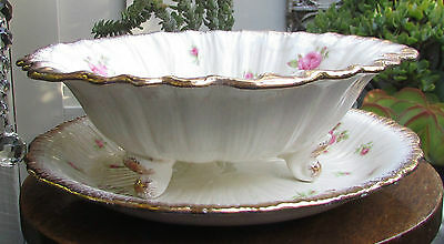 Stunning Vintage Crown Ducal Roses Lettuce Salad Draining Dish & Saucer