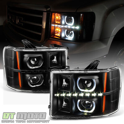 Black 2007-2013 GMC Sierra 1500 2500HD 3500HD SMD LED Halo Projector Headlights