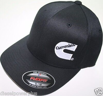 Cummins hat ball cap fitted flex fit  flexfit stretch cummings ram black s/m