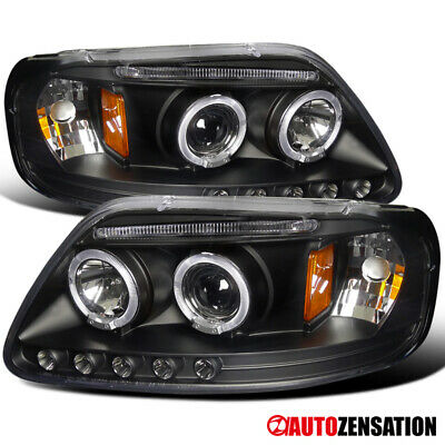 LED DRL Halo Projector Headlights Black FOR 97-03 Ford F150/ 97-02 Expedition