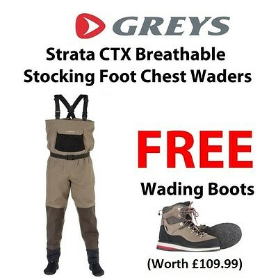 Greys Strata CTX Breathable Chest Waders With FREE Boots * 2017 STOCKS *