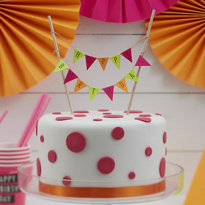 Happy Birthday cake bunting topper - neon party cake topper Ginger Ray