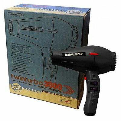 TWIN TURBO HAIR DRYER 3800 COMPACT CERAMIC IONIC -- BLACK by Parlux