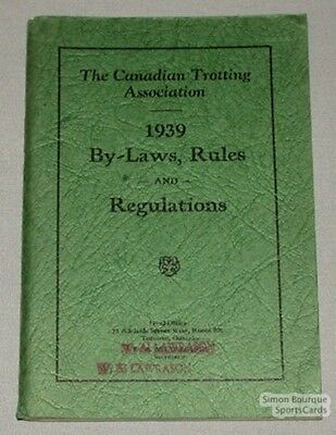 Orig. 1939 Canadian Trotting Ass. By-Laws & Rules Book