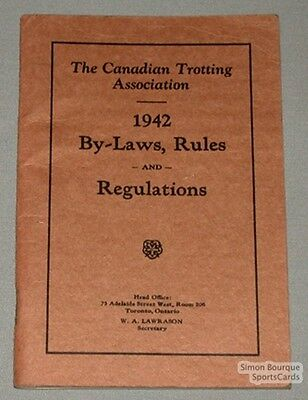 Orig. 1942 Canadian Trotting Ass. By-Laws & Rules Book