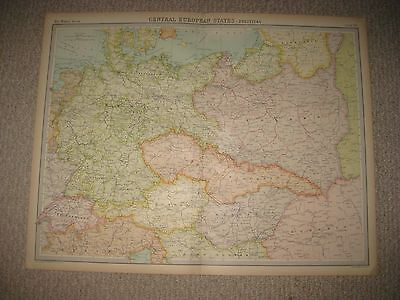 Huge Antique 1922 Central Europe Germany Poland Czechoslovakia Times Atlas Map N